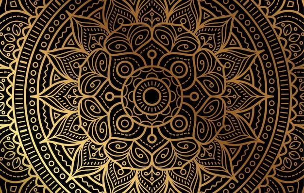 Элегантный фон с роскошным золотым цветочным узором Premium векторы