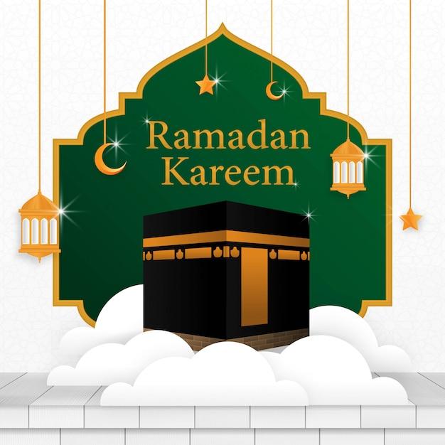 Рамадан карим исламский фон шаблон дизайна Premium векторы