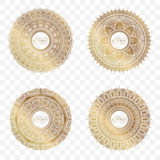 Набор дизайн круга мандалы Premium векторы