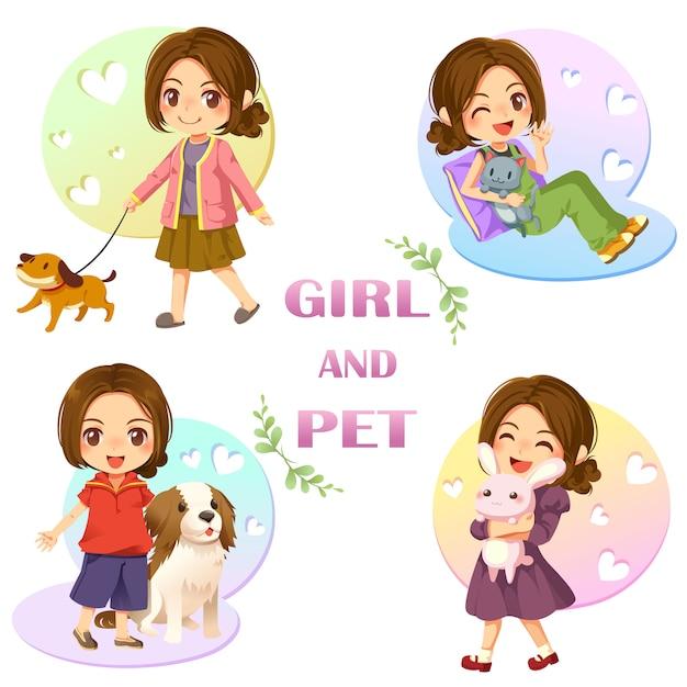 かわいい女の子とペットのコンセプト Premiumベクター