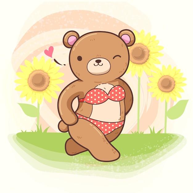 Медведь с бигини Premium векторы