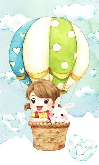 空の水彩イラストの女の子、ウサギ、バルーン Premiumベクター