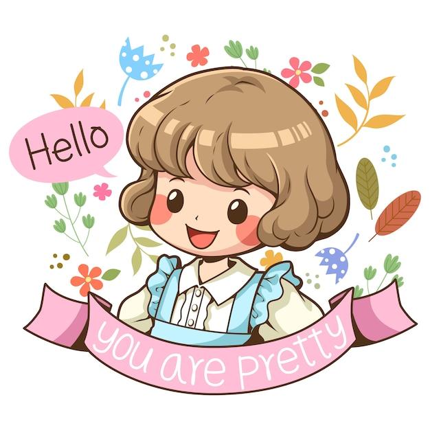 かわいい女の子キャラクター漫画ベクトル Premiumベクター