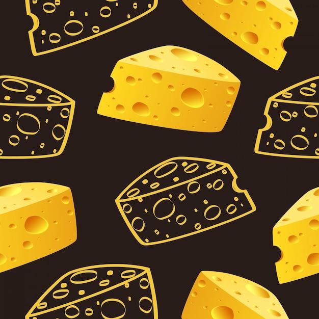 Сыр и каракули сыр шаблон бесшовные вектор Premium векторы