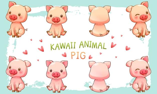 Векторная иллюстрация милой свиньи Premium векторы