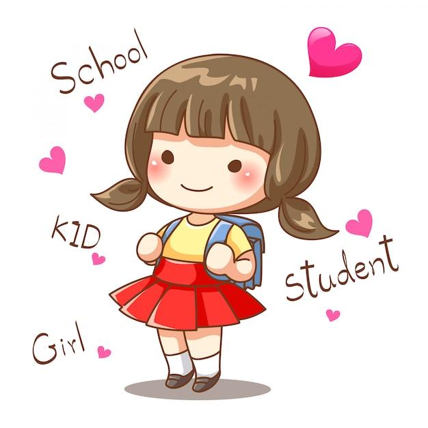 Дизайн персонажей маленькой девочки-студента ходят в школу Premium векторы