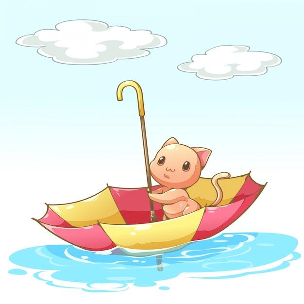 水に浮かぶ傘の中に座っている猫 Premiumベクター