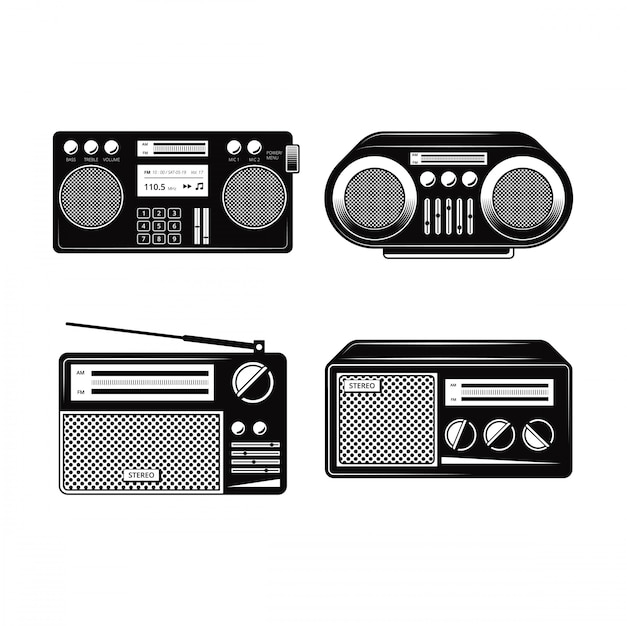 黒と白のラジオベクトルコレクション Premiumベクター