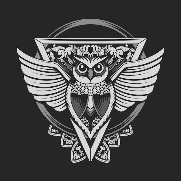 シルバーカラーのフクロウの紋章 Premiumベクター
