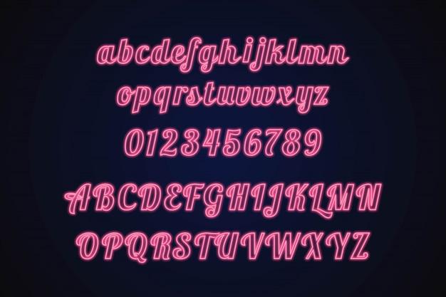 Неон альфабет Premium векторы