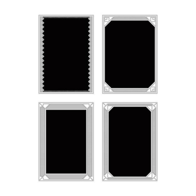 Черно-белые абстрактные коллекции дизайна кадров Premium векторы