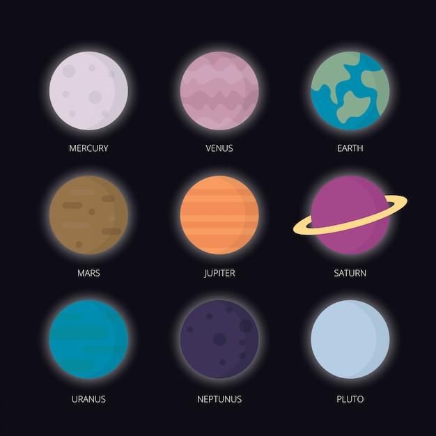 Планеты солнечной системы Premium векторы