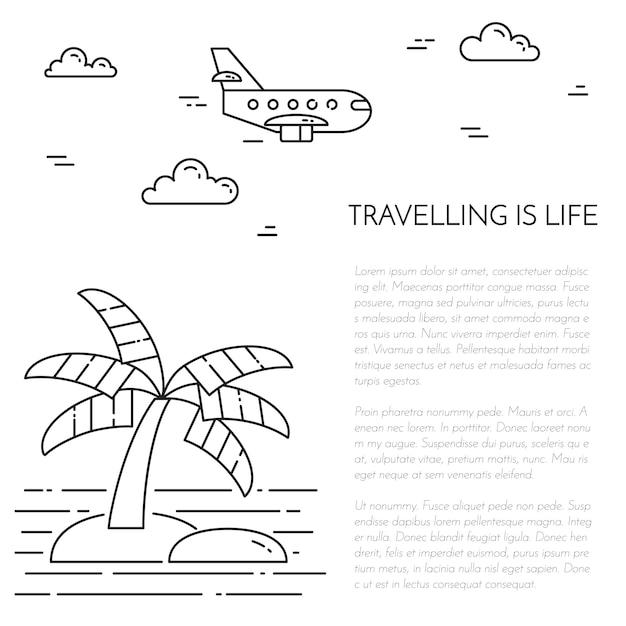 Путешествие вертикальный баннер с ладонь на остров, самолет и морская звезда в круг. Premium векторы
