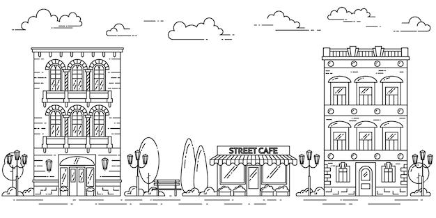 住宅、カフェ、木、雲と街の風景。ベクトルイラストフラットラインアート Premiumベクター