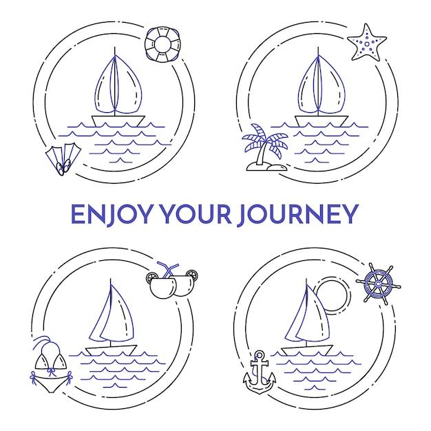 ヨットと旅行水平方向のバナーの設定 Premiumベクター