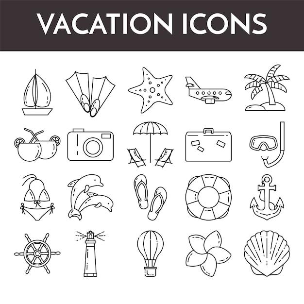 休暇のシンボルと細い線アイコンのセット Premiumベクター
