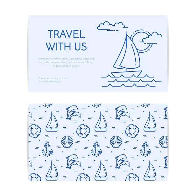 ヨットの波で旅行水平バナー Premiumベクター