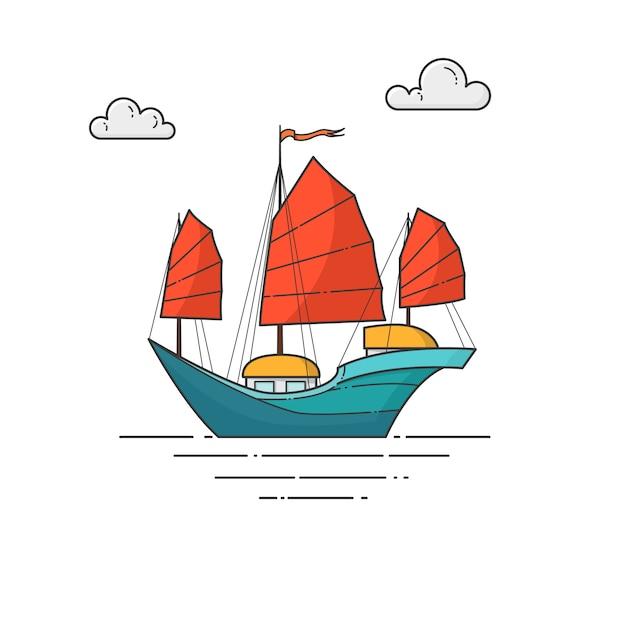 海の赤い帆の色船 Premiumベクター