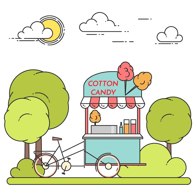 Летний городской пейзаж с велосипедом сладкой ваты в центральном парке. векторная иллюстрация штриховые рисунки. концепция строительства, жилья, рынка недвижимости, архитектурного дизайна, инвестиционного баннера, карты Premium векторы