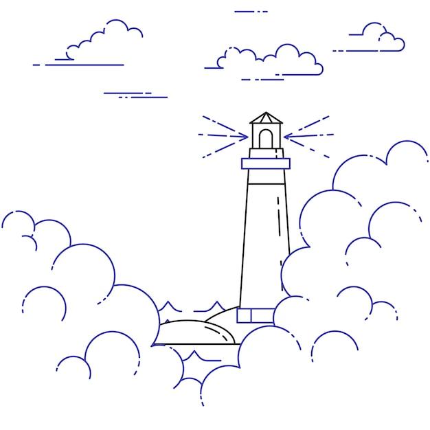 霧と雲の中で灯台と旅行水平バナー。フラットラインアートの要素。ベクトルイラスト旅行、観光、旅行代理店、ホテル、ヨット、レクリエーションカードのための概念。 Premiumベクター