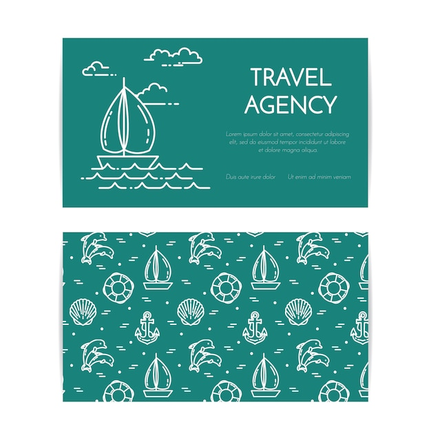 Путешествие горизонтальный баннер с парусником на волнах. безшовная картина с аксессуарами отдыха моря. плоская линия арт. векторная иллюстрация концепция для поездки, туризм, туристическое агентство, гостиницы визитная карточка. Premium векторы