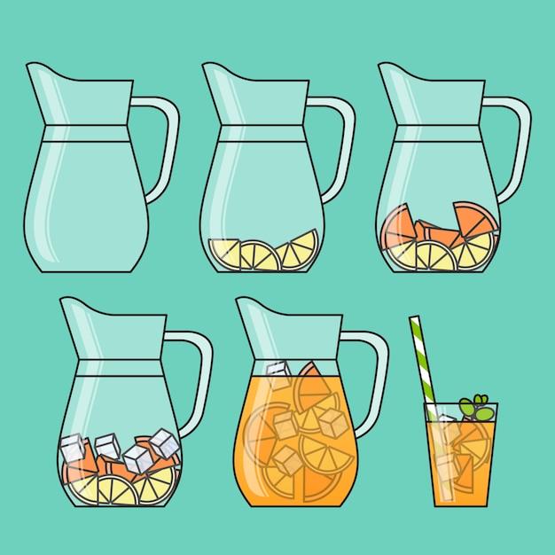 Апельсиновый лимонад с цитрусовыми ломтиками, льдом и булочками из соломы. Premium векторы