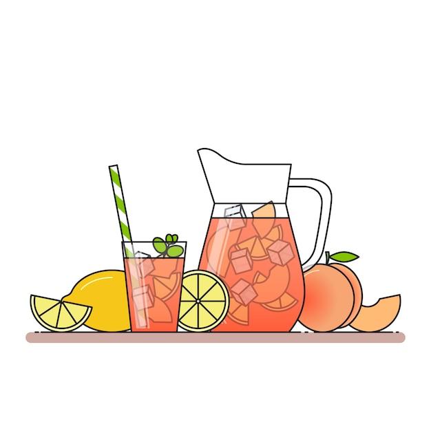 フルーツスライス、氷、水差しとミントのグラスとミントのモモ Premiumベクター