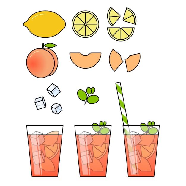 フルーツスライスと桃のレモネード Premiumベクター