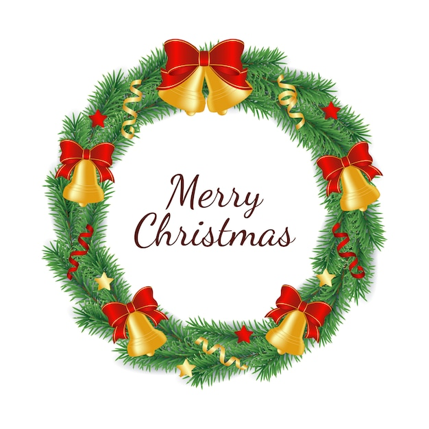 弓、リボン、星の鐘で飾られた円の形で緑の木の枝から作られたクリスマスリース。 Premiumベクター