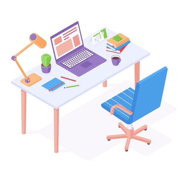 Рабочее место изометрии - офисный стул стоит возле стола с ноутбуком, настольной лампой и канцелярскими принадлежностями Premium векторы