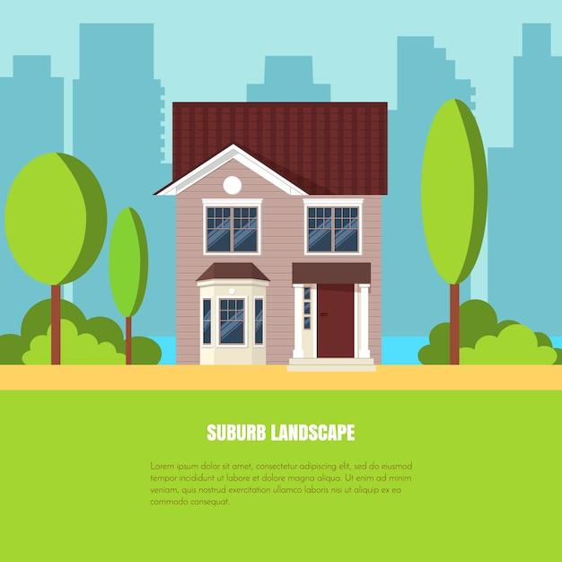 Современный стильный пригородный пейзаж с домом, деревьями во дворе на зеленой траве и городским му Premium векторы