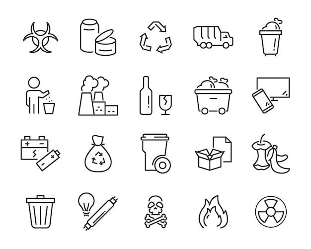 ゴミ、汚染、汚い、ゴミ、産業などの廃棄物アイコンのセット Premiumベクター