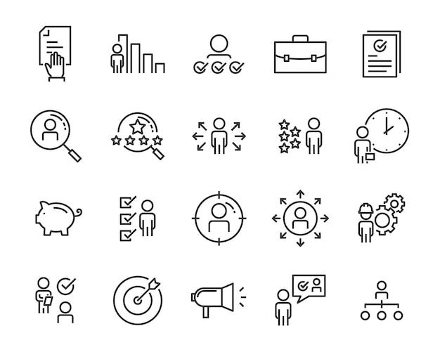 Набор иконок поиска работы Premium векторы