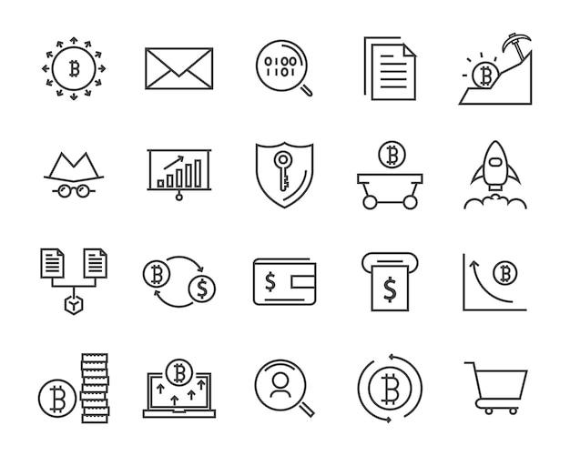 線のアイコンセット、暗号通貨アイコン、ブロックチェーンのアイコンコレクション、ベクトルイラスト Premiumベクター