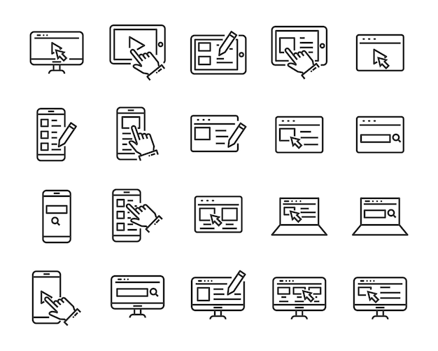 Набор значков веб-сайта, таких как веб, браузер, сеть, написание, блоггер Premium векторы
