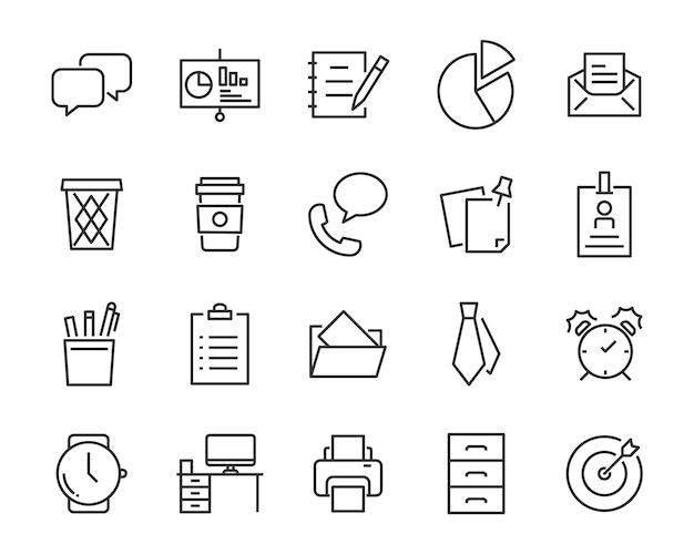 Набор офисных иконок, таких как конференц-зал, документ, кофе, бумага, ручка, ноутбук Premium векторы