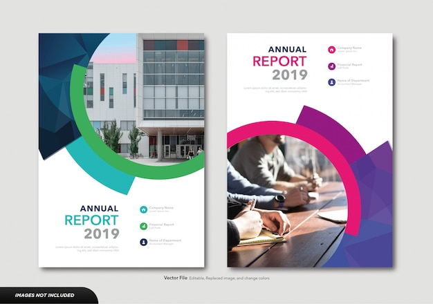 ビジネス年次報告書のモダンなカバーテンプレート Premiumベクター