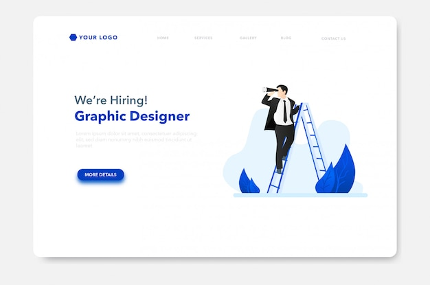 ウェブサイトのランディングページの求人等尺性イラスト Premiumベクター