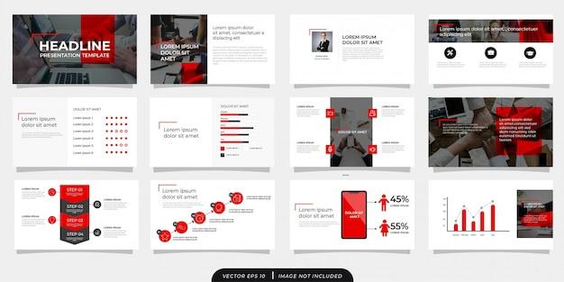 アイコンと赤灰色のモダンなビジネスプレゼンテーションテンプレート Premiumベクター
