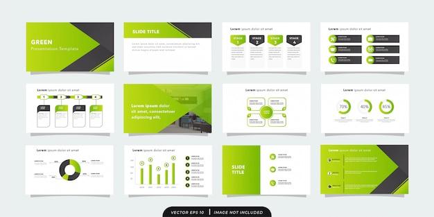Минималистичный зеленый бизнес шаблон презентации Premium векторы