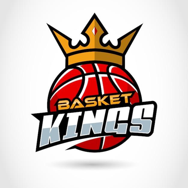 バスケットキングスポーツ、バスケットボールのロゴのテンプレート。 Premiumベクター