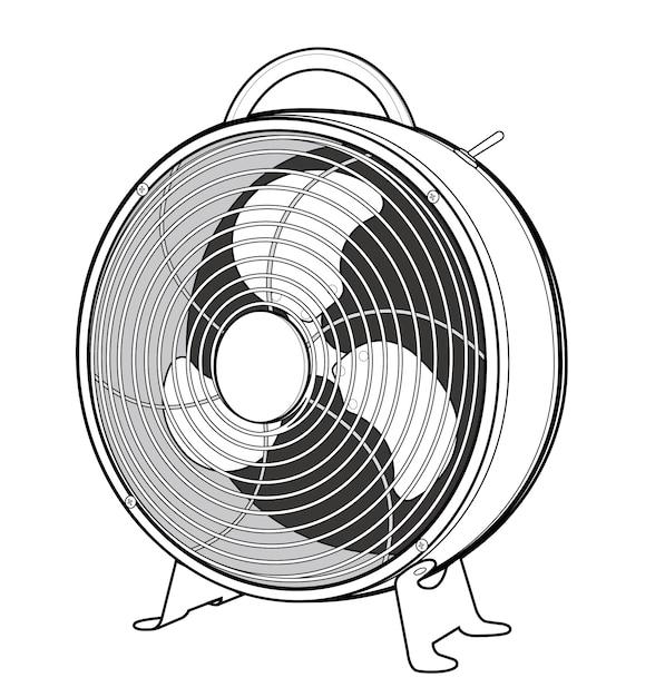 扇風機ベクトルデザインイラストテンプレート ベクター画像 プレミアム