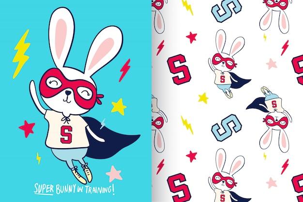 パターンが設定された手描きのかわいいウサギ Premiumベクター