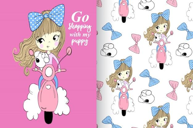手描きの少女&パターンベクトルセットとかわいい犬 Premiumベクター