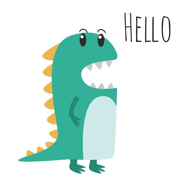 かわいい緑の恐竜のイラスト ベクター画像 プレミアムダウンロード