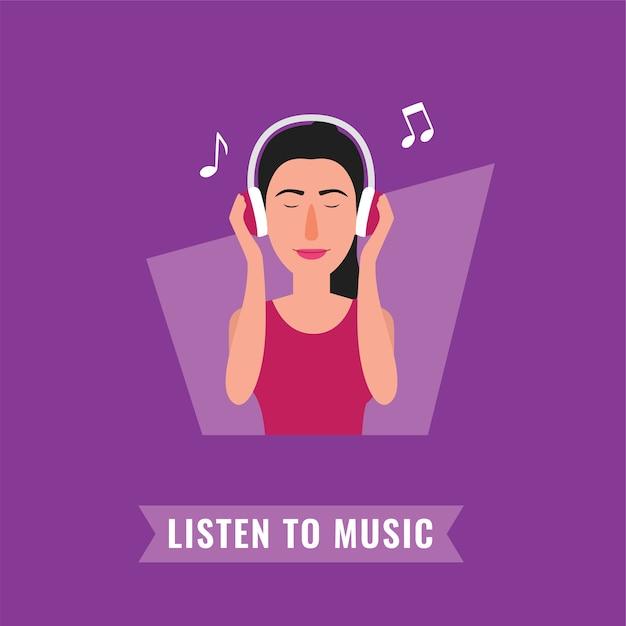 音楽を聴く大きなヘッドフォンの女性 Premiumベクター