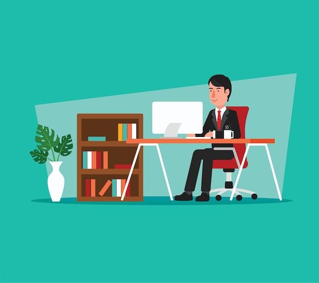 オープンスペースオフィスでコンピュータで働くビジネスマン Premiumベクター
