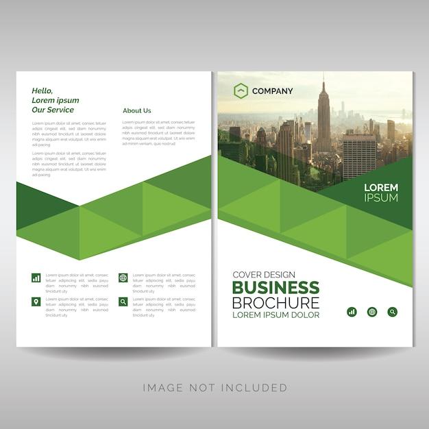 グリーンの幾何学的なビジネスパンフレットのテンプレート Premiumベクター