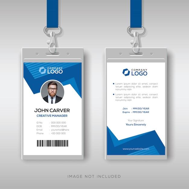 Креативное удостоверение личности с абстрактными синими фигурами Premium векторы