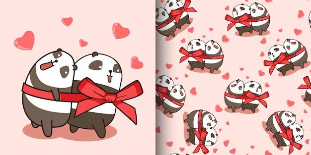 Бесшовные шаблон пара панда любить Premium векторы